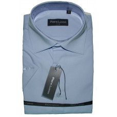 Сорочка приталенная голубая с коротким рукавом Piero Lusso 1104S