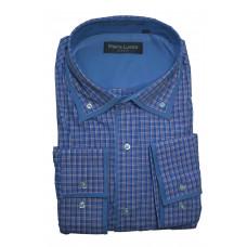 Рубашка в клетку синего цвета Piero lusso 3SS027-03