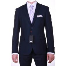 Темно-синий приталенный мужской костюм Барберра Franchesko Fellini