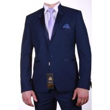 Синий мужской костюм воротник стойка