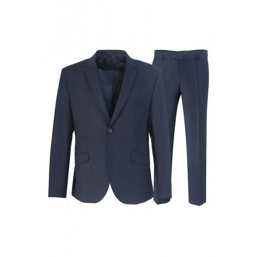 Мужской классический деловой костюм синего цвета Stenser 5140.