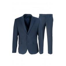 Тёмный мужской костюм в клетку синего цвета Stenser 5144