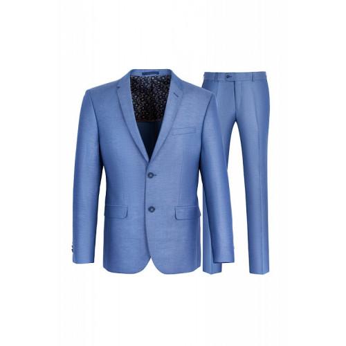 Летний светло-голубой мужской классический приталенный костюм Stenser К5169