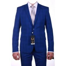 Молодежный синий костюм в клетку