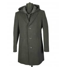 Пальто мужское с капюшоном серого цвета.