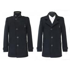Пальто мужское черное  039 велюр