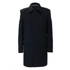 Чёрное мужское драповое пальто 069 драп