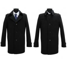 Пальто мужское черного цвета 128 велюр