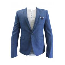 Пиджак светло синий с налокотниками