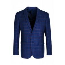 Мужской классический пиджак синего цвета в клетку 5527