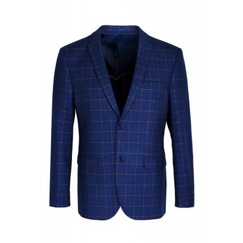 Мужской классический пиджак синего цвета в клетку