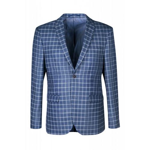 Классический мужской пиджак в клетку синего цвета.