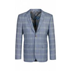 Пиджак мужской серо-голубого цвета в клетку.