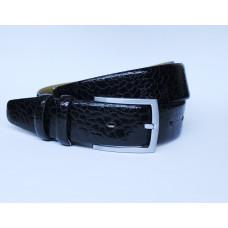 Ремень черный кожаный 0004