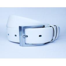 Ремень белый кожаный 0010